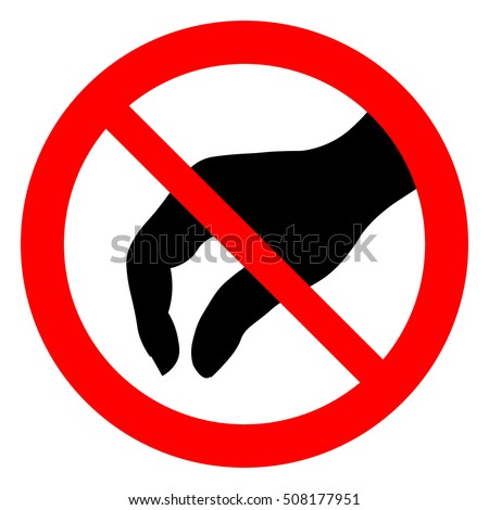 Do not touch, prohibition sign with black hand illustration. Isolated vector illustration.