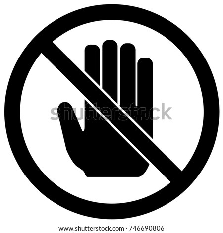 Do Not Touch Sign Black And White. Vector.