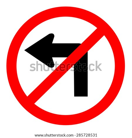 Do not turn left traffic sign