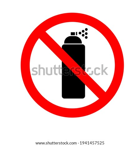 Do not use aerosol sprays. Aerosols are prohibited. A crossed-out aerosol can in a red circle. Forbidding sign, sticker. vector flat illustration Foto stock ©