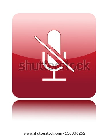 Do not use microphone or mute icon on red glossy button