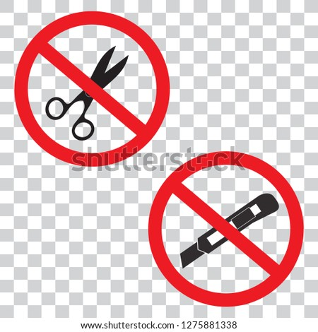 9f3875df471ee9 Do not use scissors and cutter knife icon set prohibition sign symbols  vector illustration isolated on