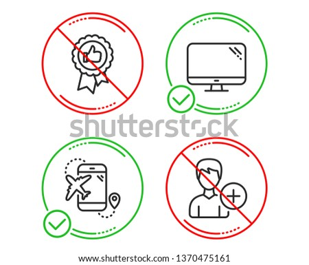 Do or Stop. Computer, Positive feedback and Flight destination icons simple set. Add person sign. Pc component, Award medal, Airplane trip. Edit user data. Business set. Line computer do icon. Vector