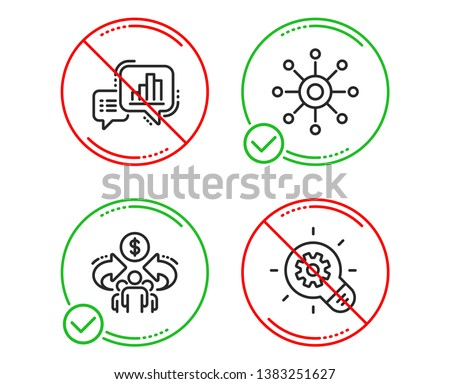 Do or Stop. Graph chart, Multichannel and Sharing economy icons simple set. Cogwheel sign. Growth report, Multitasking, Share. Idea bulb. Science set. Line graph chart do icon. Prohibited ban stop