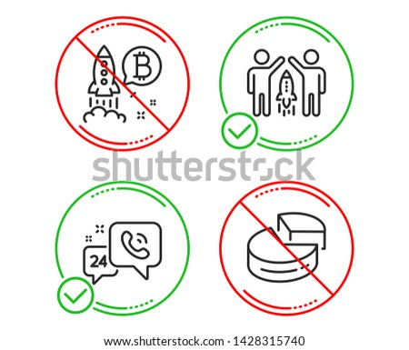 Do or Stop. 24h service, Partnership and Bitcoin project icons simple set. Pie chart sign. Call support, Business startup, Cryptocurrency startup. 3d graph. Technology set. Line 24h service do icon