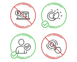 Do or Stop. Identity confirmed, Paint brush and Online accounting icons simple set. Seo target sign. Person validated, Creativity, Web audit. Click aim. Line identity confirmed do icon. Vector