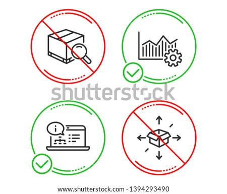 Do or Stop. Operational excellence, Search package and Online documentation icons simple set. Parcel delivery sign. Corporate business, Tracking service, Web engineering. Logistics service. Vector