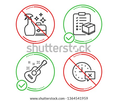 Do or Stop. Parcel checklist, Cleanser spray and Guitar icons simple set. Time sign. Logistics check, Washing liquid, Acoustic instrument. Remove alarm. Business set. Line parcel checklist do icon