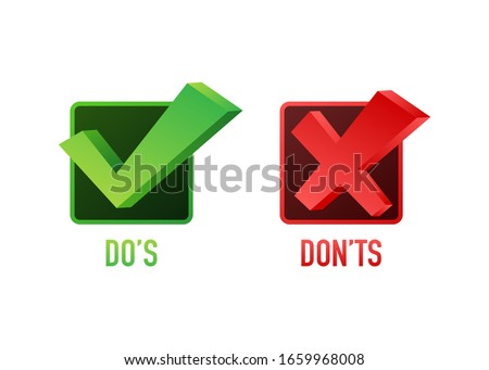 Do's and Don'ts like thumbs up or down. flat simple thumb up symbol minimal round logotype element set graphic design isolated on white. Vector stock illustration. Foto stock ©