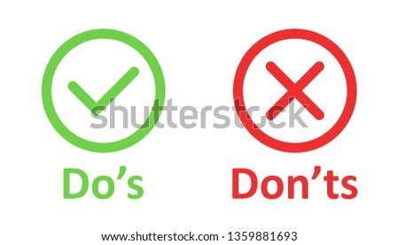 Do's and don'ts sign icon in flat style. Like, unlike vector illustration on white isolated background. Yes, no business concept. Foto stock ©
