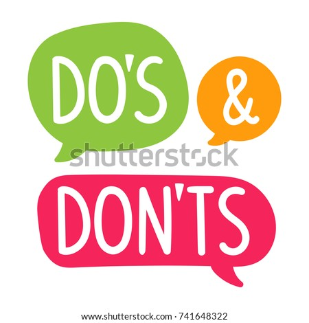 Do's and Don'ts. Vector hand drawn speech bubbles, label, badge, sticker illustration on white background. Stockfoto ©