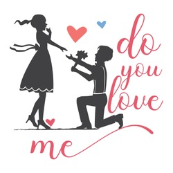do you love me, Love couple with proposal, concept vector illustration, cute couple in love, man proposing to the woman kneeling vector illustration, Dating Couple Silhouette, valentine heart vector