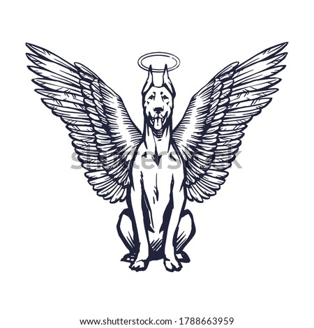 doberman with angel wings and