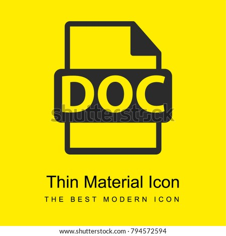 DOC file format bright yellow material minimal icon or logo design