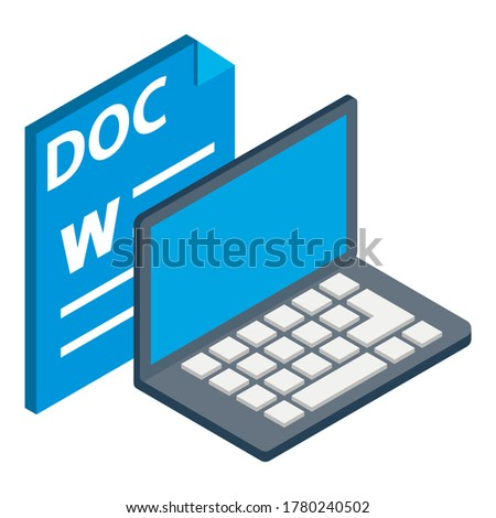 Doc file icon. Isometric illustration of doc file vector icon for web