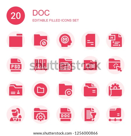 doc icon set. Collection of 20 filled doc icons included Folder, Fixed, Doc, Js, Psd, Reporter, Report