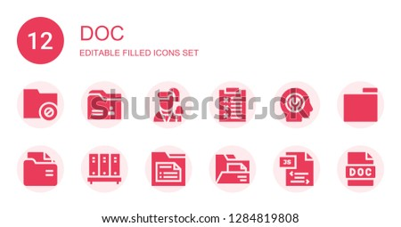 doc icon set. Collection of 12 filled doc icons included Folder, Reporter, Report, Fixed, Js, Doc