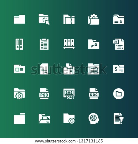 doc icon set. Collection of 25 filled doc icons included Report, Fixed, Folder, Doc, Jpg, Psd, Js, Folders