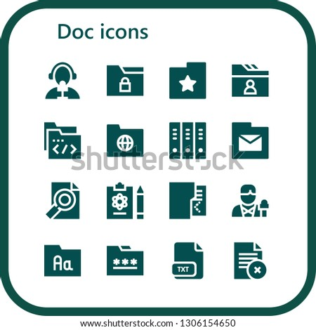 doc icon set. 16 filled doc icons.  Collection Of - Reporter, Folder, Folders, Report, Txt