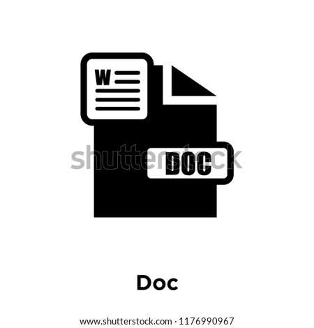 Doc icon vector isolated on white background, logo concept of Doc sign on transparent background, filled black symbol