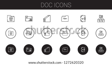 doc icons set. Collection of doc with folder. Editable and scalable doc icons.