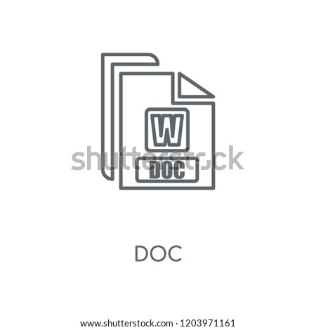 Doc linear icon. Doc concept stroke symbol design. Thin graphic elements vector illustration, outline pattern on a white background, eps 10.