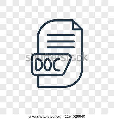 Doc vector icon isolated on transparent background, Doc logo concept