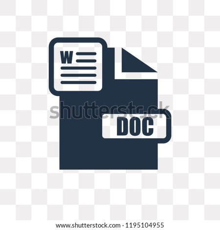 Doc vector icon isolated on transparent background, Doc transparency concept can be used web and mobile