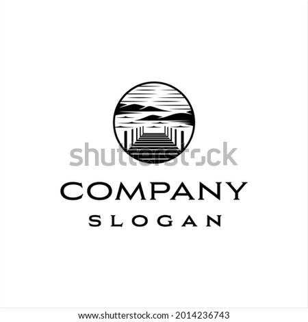 dock and lake logo with classic