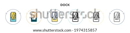 dock icon in filled  thin line