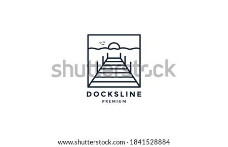 docks with sunset line outline