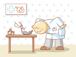 doctor and a rat with a bandage on its tail at the veterinary room