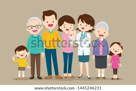 doctor and family.Big Family together. Group of people standing. Little boy, teenager girl, woman, man, old man, senior woman,Father, mother, sister, brother, grandfather, grandmother
