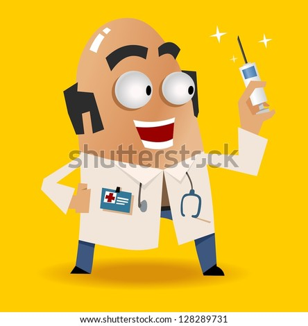Doctor and his syringe. Vector illustration
