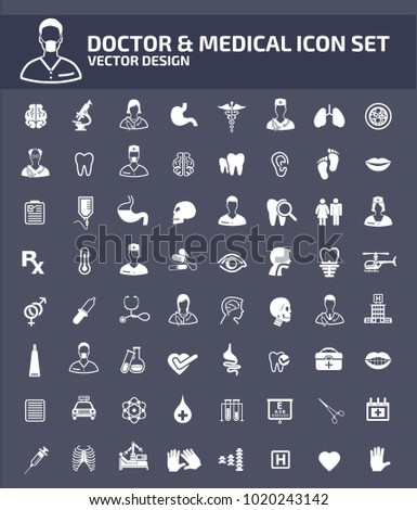 Doctor and medical icon set design