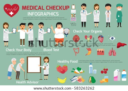 Doctor and medical set with patient in various pose for advertising or presentation. Health and medical check-up concept vector illustration.