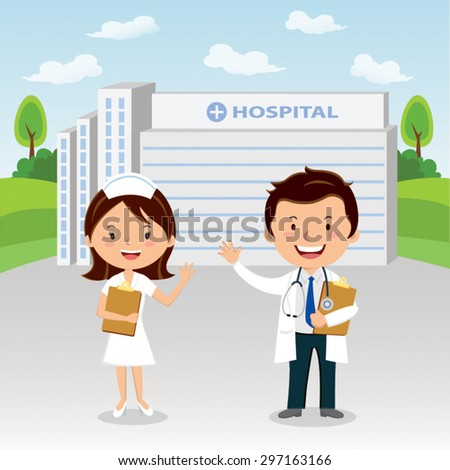 Doctor and nurse at hospital. Doctor and nurse gesturing in front of a hospital.