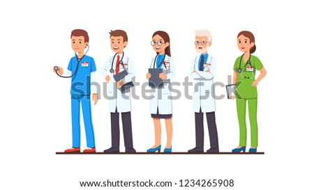 Doctor and nurse characters set. Full length man and woman doctors wearing uniform, white coat and scrubs, glasses, holding clipboard and stethoscope. Flat style cartoon vector isolated illustration