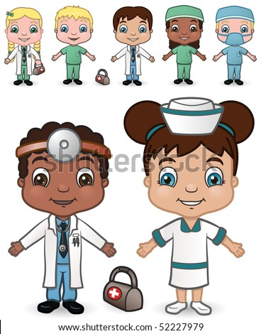 Doctor and Nurse Children set 2 - vector illustrations.  Shadow is on a separate layer for easy removal.