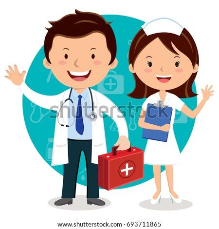 Doctor and Nurse. Doctor holding first aid box.
