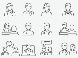 Doctor and Nurse line icons set. Vector illustration on a white background. Editable stroke.