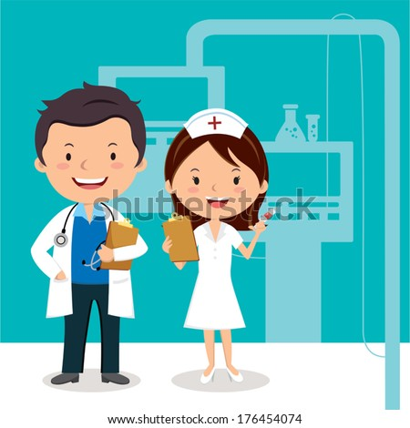 Doctor and Nurse. Vector illustration of a smiling doctor and nurse on the background of hospital ward.