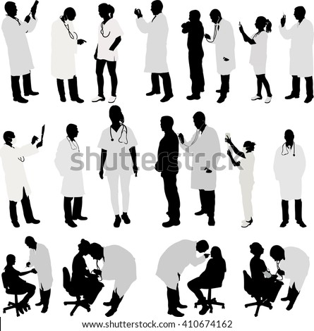doctor and patient big collection silhouette - vector
