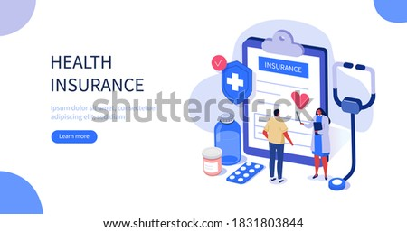 Doctor and Patient in Hospital Office filling Health Insurance Contract. Near lying Medical Pills, Stethoscope and other Medical Staff. Healthcare Concept. Flat Isometric Vector Illustration.