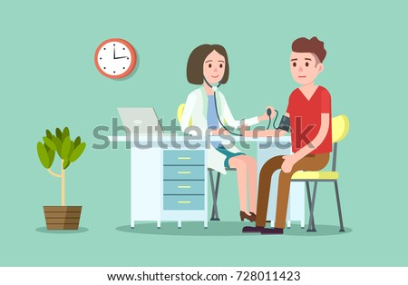 Doctor and patient measuring blood pressure. Medical treatment and healthcare poster, modern clinical analysis and treatment, medical diagnostic tests. Doctor visit in clinic vector illustration #728011423