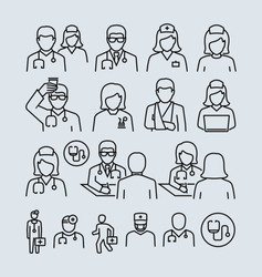 Doctor and Patient Nurse Vector Icons