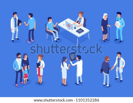 Doctor and patients concept banner with characters. Can use for web banner, infographics, hero images. Flat isometric vector illustration. #1101352286
