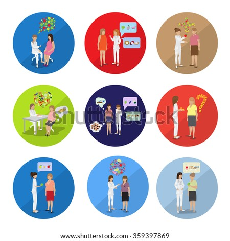 """Doctor And Patients: """"Fat To Fit Diet Plan"""" - Isolated On Background - Vector Illustration, Graphic Design, Editable For Your Design"""