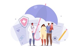 Doctor and Patients in Hospital filling Health and Life Insurance Policy Contract. Doctor holding Umbrella over Family to Protect from Accident. Health Care Concept. Flat Cartoon Vector Illustration.