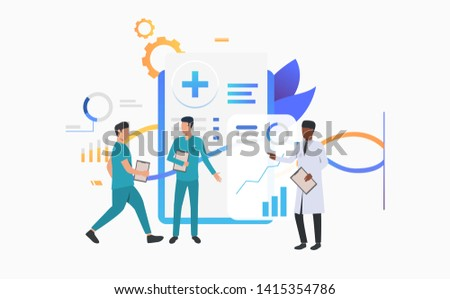 Doctor and technicians discussing medical record vector illustration. Medical center, clinic, medical research. Healthcare concept. Creative design for layouts, web pages, banners